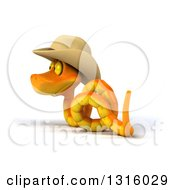 Clipart Of A 3d Orange Snake Wearing A Cowboy Hat Slithering To The Left Royalty Free Illustration by Julos