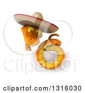 Clipart Of A 3d Orange Snake Wearing A Cowboy Hat Above A Sign 2 Royalty Free Illustration by Julos