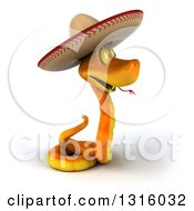 Clipart Of A 3d Orange Snake Wearing A Cowboy Hat Facing Right Royalty Free Illustration by Julos