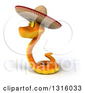 Clipart Of A 3d Orange Snake Wearing A Cowboy Hat Facing Left Royalty Free Illustration by Julos