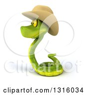 Clipart Of A 3d Green Snake Wearing A Cowboy Hat Facing Left Royalty Free Illustration by Julos