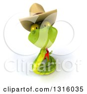 Clipart Of A 3d Green Snake Wearing A Cowboy Hat And Looking Up Royalty Free Illustration by Julos
