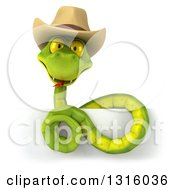 Clipart Of A 3d Green Snake Wearing A Cowboy Hat Above A Sign Royalty Free Illustration by Julos
