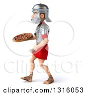 Clipart Of A 3d Young Male Roman Legionary Soldier Walking To The Left And Holding A Pizza Royalty Free Illustration