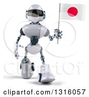 Clipart Of A 3d White And Blue Robot Walking And Holding A Japanese Flag Royalty Free Illustration