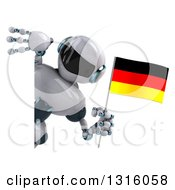 Clipart Of A 3d White And Blue Robot Holding A German Flag And Looking Around A Sign Royalty Free Illustration