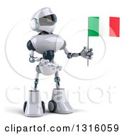 Clipart Of A 3d White And Blue Robot Presenting And Holding An Italian Flag Royalty Free Illustration