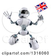 Clipart Of A 3d White And Blue Robot Holding A British Flag And Jumping Royalty Free Illustration