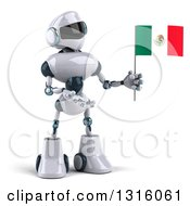 Clipart Of A 3d White And Blue Robot Presenting And Holding A Mexican Flag Royalty Free Illustration