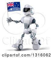 Clipart Of A 3d White And Blue Robot Walking To The Left And Holding An Australian Flag Royalty Free Illustration