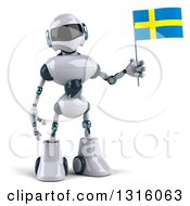 Clipart Of A 3d White And Blue Robot Holding A Sweden Flag Royalty Free Illustration