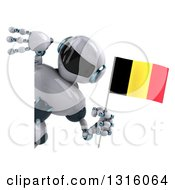 Clipart Of A 3d White And Blue Robot Holding A Belgium Flag Around A Sign Royalty Free Illustration