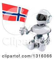 Clipart Of A 3d White And Blue Robot Holding Up A Norway Flag Royalty Free Illustration