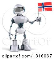 Clipart Of A 3d White And Blue Robot Holding A Norway Flag 2 Royalty Free Illustration