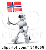 Clipart Of A 3d White And Blue Robot Walking To The Left And Holding A Norway Flag Royalty Free Illustration
