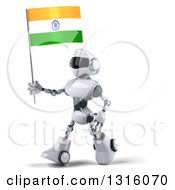 Clipart Of A 3d White And Blue Robot Walking Left And Holding An Indian Flag Royalty Free Illustration