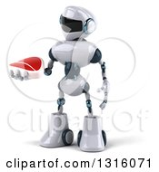 Clipart Of A 3d White And Blue Robot Holding And Looking At A Beef Steak Royalty Free Illustration