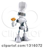 Clipart Of A 3d White And Blue Robot Chef Holding Out French Fries Royalty Free Illustration