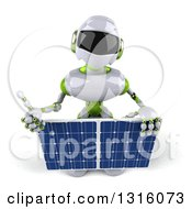 Clipart Of A 3d White And Green Male Techno Robot Holding Up A Thumb And A Solar Panel Royalty Free Illustration by Julos