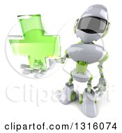 Clipart Of A 3d White And Green Male Techno Robot Holding Up A Cross Royalty Free Illustration