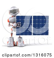 Clipart Of A 3d White And Orange Robot Holding A Solar Panel Royalty Free Illustration by Julos