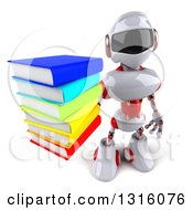 Clipart Of A 3d White And Red Robot Holding Up A Stack Of Books Royalty Free Illustration