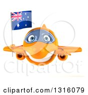 Clipart Of A 3d Happy Orange Airplane Flying With An Australian Flag Royalty Free Illustration