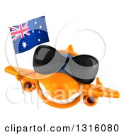 Clipart Of A 3d Happy Orange Airplane Wearing Sunglasses Flying With An Australian Flag And Giving A Thumb Up Royalty Free Illustration