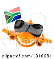 Clipart Of A 3d Happy Orange Airplane Wearing Sunglasses Giving A Thumb Up And Flying With A South African Flag Royalty Free Illustration