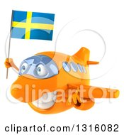 Clipart Of A 3d Happy Orange Airplane Flying To The Left With A Swedish Flag Royalty Free Illustration