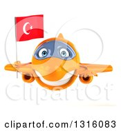 Clipart Of A 3d Happy Orange Airplane Flying With A Turkey Flag Royalty Free Illustration