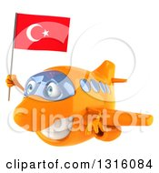 Clipart Of A 3d Happy Orange Airplane Flying To The Left With A Turkey Flag Royalty Free Illustration