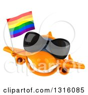 Clipart Of A 3d Happy Orange Airplane Wearing Sunglasses Giving A Thumb Up And Flying With A LGBT Rainbow Flag Royalty Free Illustration