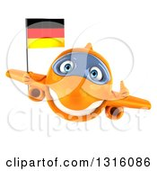 Clipart Of A 3d Happy Orange Airplane Giving A Thumb Up And Flying With A German Flag Royalty Free Illustration