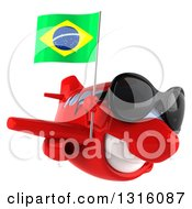 Clipart Of A 3d Happy Red Airplane Wearing Sunglasses Flying To The Right And Holding A Brazilian Flag Royalty Free Illustration