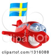 Clipart Of A 3d Happy Red Airplane Flying To The Right With A Swedish Flag Royalty Free Illustration