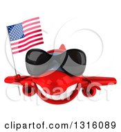 Clipart Of A 3d Happy Red Airplane Wearing Sunglasses And Flying With An American Flag Royalty Free Illustration