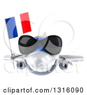 Clipart Of A 3d Happy White Airplane Wearing Sunglasses And Flying With A French Flag Royalty Free Illustration