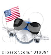 Clipart Of A 3d Happy White Airplane Wearing Sunglasses Giving A Thumb Up And Flying With An American Flag Royalty Free Illustration