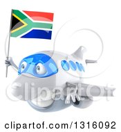 Clipart Of A 3d Happy White Airplane Flying To The Left With A South African Flag Royalty Free Illustration