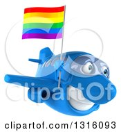 Clipart Of A 3d Happy Blue Airplane Flying Slightly To The Right With A LGBT Rainbow Flag Royalty Free Illustration