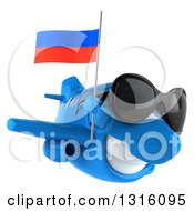 Clipart Of A 3d Happy Blue Airplane Wearing Sunglasses And Flying To The Right With A Russian Flag Royalty Free Illustration