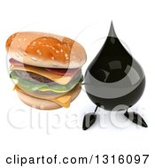 Clipart Of A 3d Oil Drop Character Holding Up A Double Cheeseburger Royalty Free Illustration