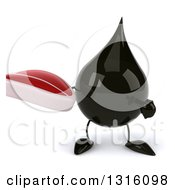Clipart Of A 3d Oil Drop Character Holding And Pointing To A Beef Steak Royalty Free Illustration