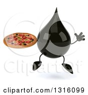 Clipart Of A 3d Oil Drop Character Jumping And Holding A Pizza Royalty Free Illustration