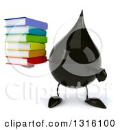 Clipart Of A 3d Oil Drop Character Holding And Pointing To A Stack Of Books Royalty Free Illustration