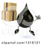 Clipart Of A 3d Oil Drop Character Jumping And Holding Boxes Royalty Free Illustration