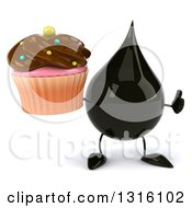 Clipart Of A 3d Oil Drop Character Giving A Thumb Up And Holding A Chocolate Frosted Cupcake Royalty Free Illustration