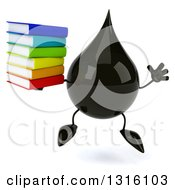 Clipart Of A 3d Oil Drop Character Jumping And Holding A Stack Of Books Royalty Free Illustration
