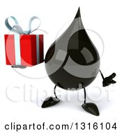 Clipart Of A 3d Oil Drop Character Shrugging And Holding A Gift Royalty Free Illustration